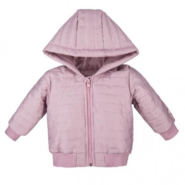 Detská jesenná prešívaná bunda s kapucňou - orgovánová, veľ. 98