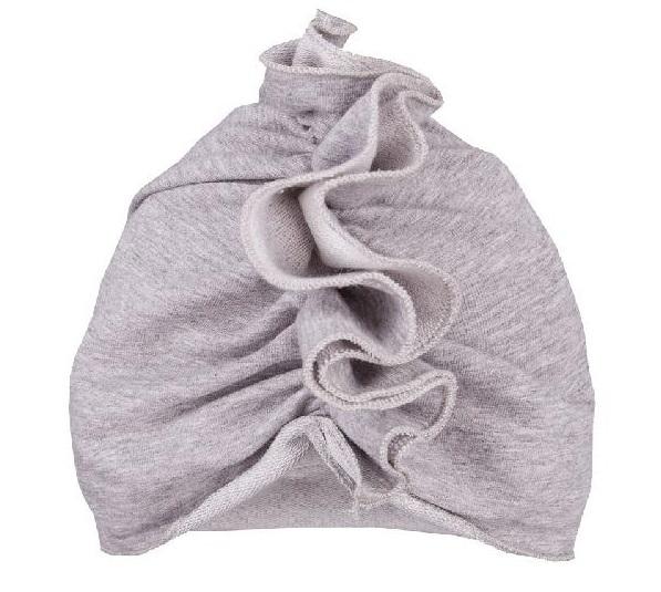 EEVI Detská jarná / jesenná bavlnená čiapka - turban, šedá, 44-48 cm, 3-7let-3-7 let