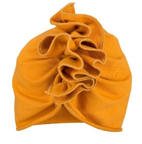 EEVI Detská jarná / jesenná bavlnená čiapka - turban, horčicová, 1-3 roky-1-3 roky