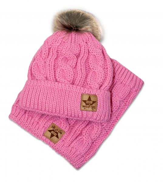BABY NELLYS Zimná pletená čiapka s brmbolcom + komín, ružová, obvod: 52-56cm