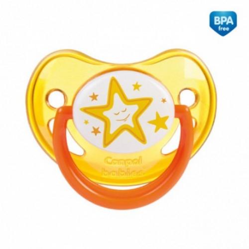 Canpol babies Cumlík silikonový anatomický, svítící 18 m+ C - žltý, hvezdička