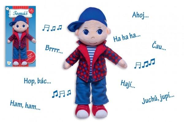 Bábika / Panáček chlapec Tomáš handrová plyš 40 cm hovoriaci na karte v sáčku 0+