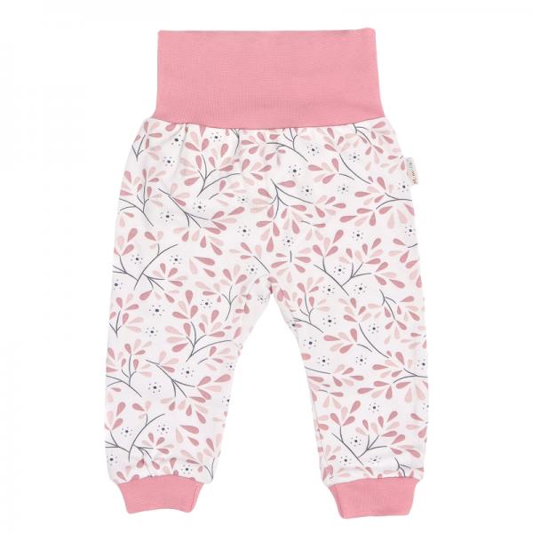 Mamatti Dětské tepláčky s pružným pásom Tokio, bielo-ružové, veľ. 92-92 (18-24m)