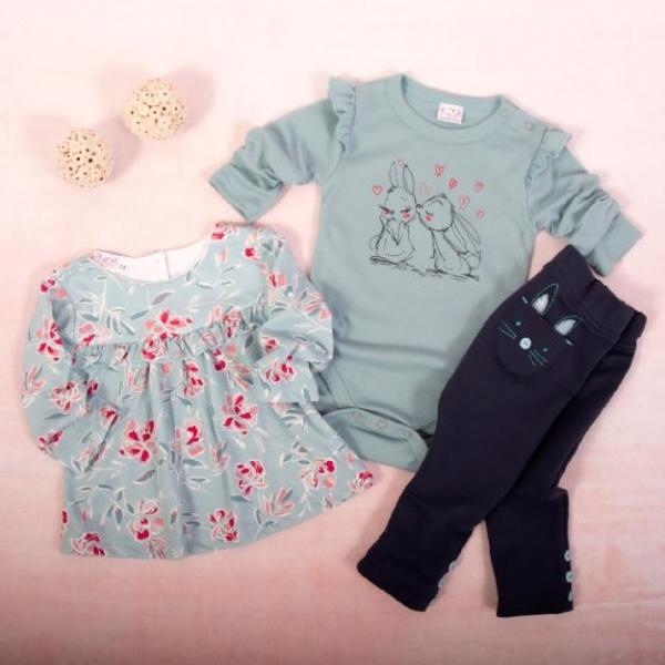 K-Baby 3 dielna sada-1x body dl. rukáv, tunika, legíny, Zajačikovia - mätová, granát,80-#Velikost koj. oblečení;80 (9-12m)