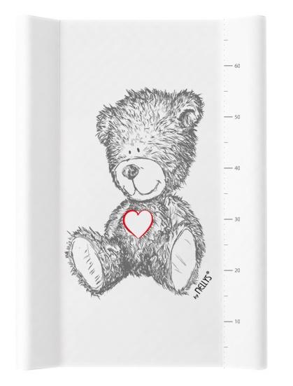 NELLYS Prebaľovacia podložka, mäkká, vyvýšené boky, TEDDY, 50 x 70cm, biela