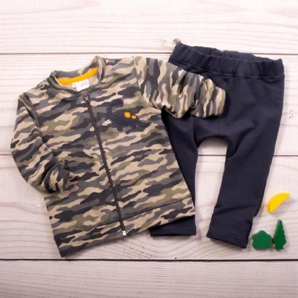 K-Baby Tepláková súprava Dino - khaki/granát, veľ. 80-#Velikost koj. oblečení;80 (9-12m)