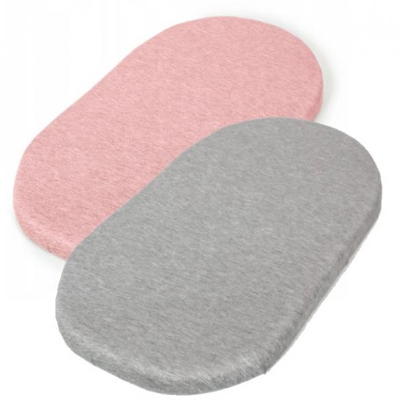 Jersey plachta do kočíka 75 x 35  - sada 2 ks - sivá, ružová