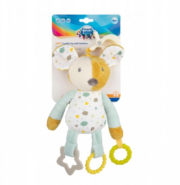 Canpol babies Závesná plyšová hračka s hryzátkami a hrkálkou - Myška