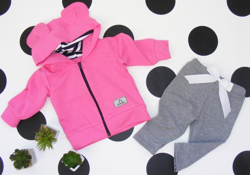 G-baby Bavlnená tepláková súprava s kapucňou Uško, ružovo-šedá, veľ. 74-74 (6-9m)