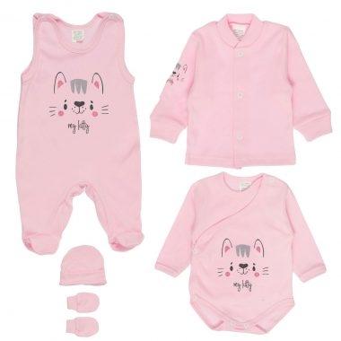 MBaby 5D Súpravička do pôrodnice - My Kitty, růžová, veľ. 62-#Velikost koj. oblečení;62 (2-3m)