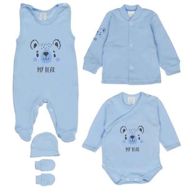Kojenecká 5-dielna súpravička do pôrodnice - My Bear, modrá, veľ. 62