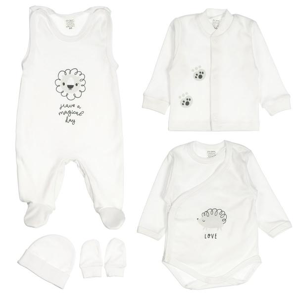 MBaby 5D Súpravička do pôrodnice - Animals, biela, veľ. 62