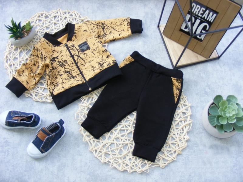 G-baby Bavlnená tepláková súprava Little King, horčicová / čierna, veľ. 68-#Velikost koj. oblečení;68 (4-6m)