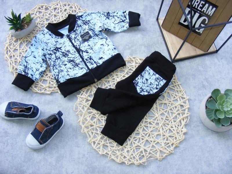 Kojenecká bavlnená tepláková súprava Little King, modro/ čierna, veľ. 80