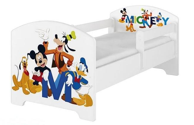 BabyBoo Detská postel Disney - Mickey s kamarátmi - biela, s matracom + šuplík, 140x70 cm