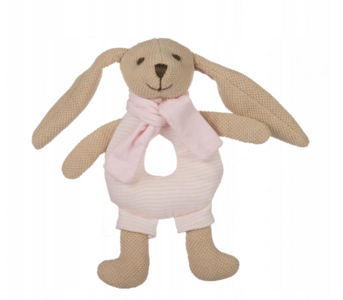 Canpol babies Plyšová hračka s hrkálkou - Zajačik - ružový