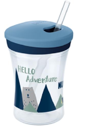 Nekvapkajúci hrnček NUK Action Cup sa slamkou, 230 ml - Hello Adventure