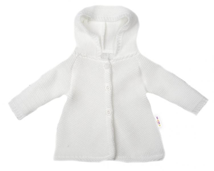 Baby Nellys Dojčenský svetrík s kapucňou, áčkový strih - biely, veľ. 74