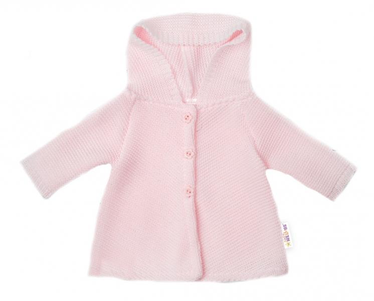 Baby Nellys Dojčenský svetrík s kapucňou, áčkový strih - růžový