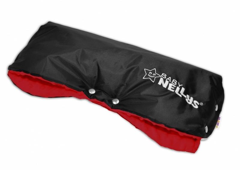 Rukávnik ku kočíku Baby Nellys ® Minky -  červená/čierny