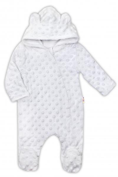 Baby Nellys Kombinézka /overal Minky s kapucňou a uškami - biela