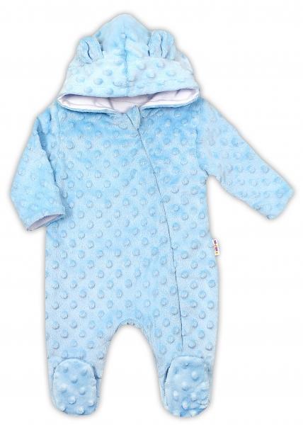 Baby Nellys Kombinézka /overal Minky s kapucňou a uškami - modrá, veľ. 68