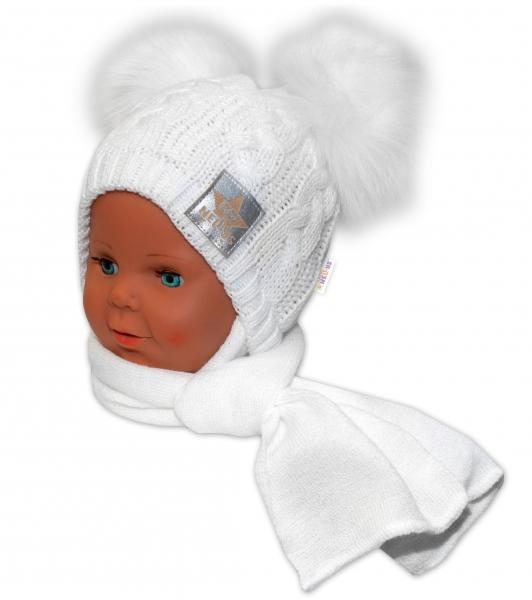 BABY NELLYS Zimná čiapočka s šálom - chlupáčkové bambuľky - biela, biele bambuľky, veľ. 6-18 m