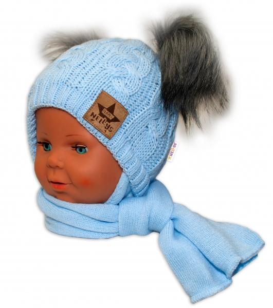 BABY NELLYS Zimná čiapočka s šálom - chlupáčkové bambuľky - modrá, šedé bambuľky, veľ. 6-18 m