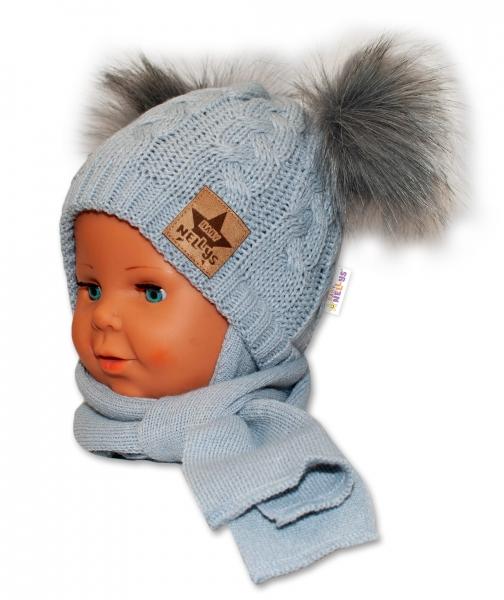 BABY NELLYS Zimná čiapočka s šálom - chlupáčkové bambuľky - šedá, šedé bambuľky, veľ. 6-18 m