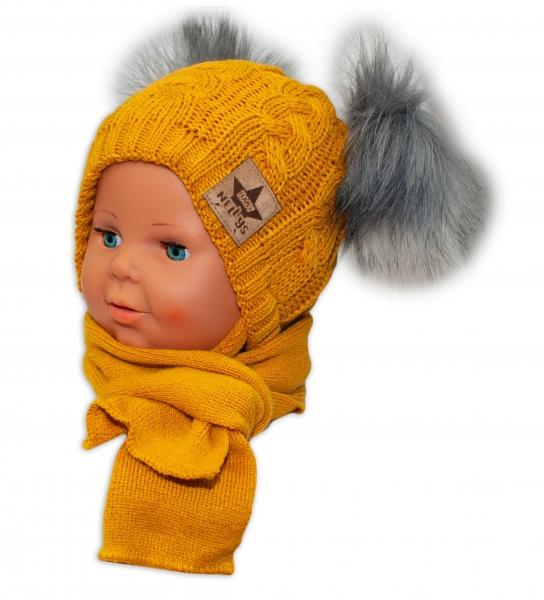 BABY NELLYS Zimná čiapočka s šálom - chlupáčkové bambuľky - horčič., šedé bambuľky