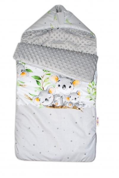 Bavlnený fusak Baby Nellys, minky, Medvedík Koala, 47 x 95 cm - sivý
