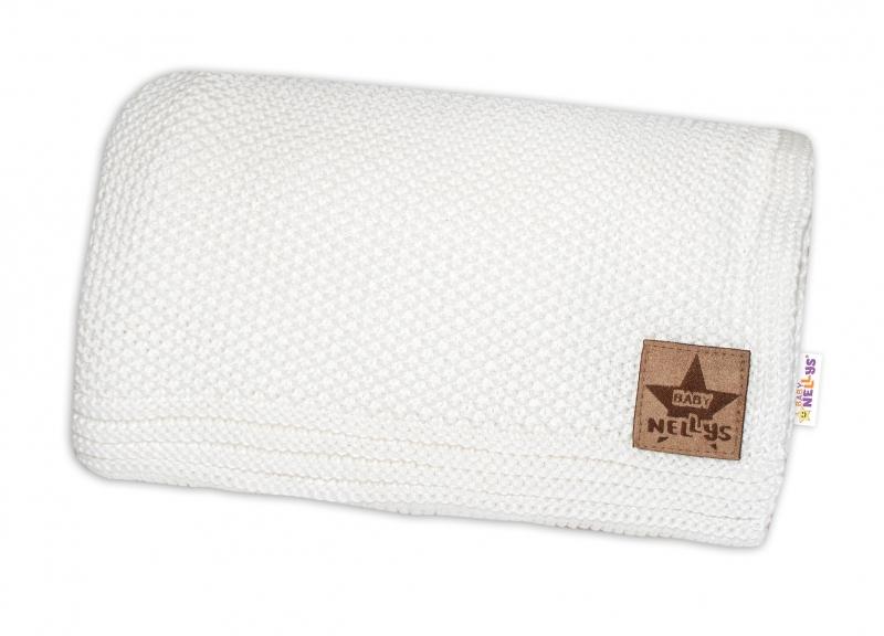 Baby Nellys Luxusná deka do kočíka, 80x90cm - biela