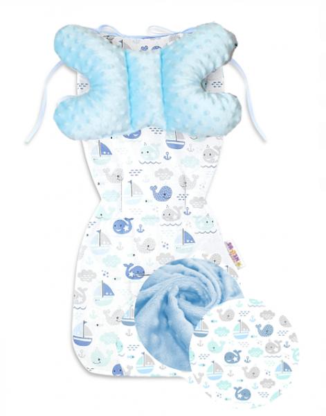 Sada do kočíka Baby Nellys Minky Oceán Baby - podložka + vankúšik - modrá/biela