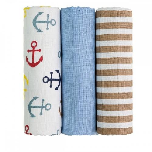T-Tomi Detské látkové tetra plienky LUX - Kotvičky a prúžky, modré, béžové