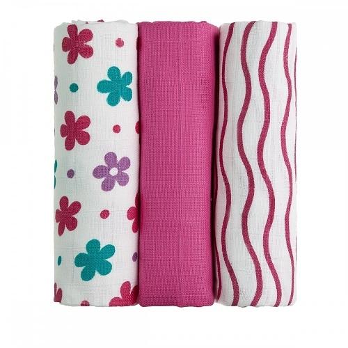 T-Tomi Detské látkové tetra plienky LUX - Kytičky a prúžky ružové