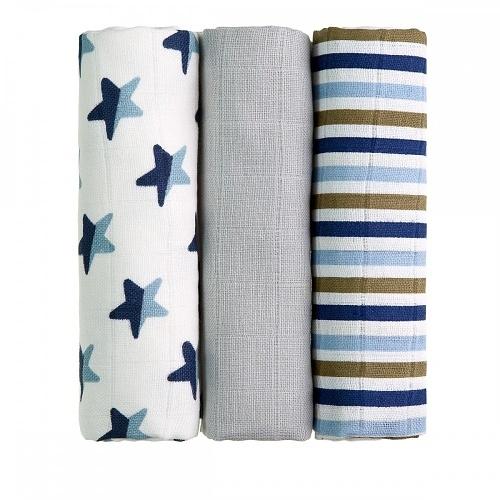 T-Tomi Detské látkové tetra plienky LUX - Hviezdy a prúžky, modré