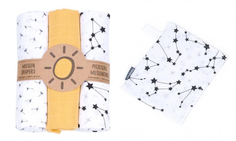 Mamo-Tato mušelínové plienky 3ks + žinka zadarmo -  vzor 1