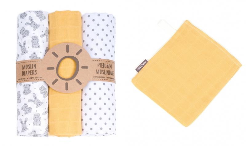 Mamo-Tato mušelínové plienky 3ks + žinka zadarmo -  vzor 17