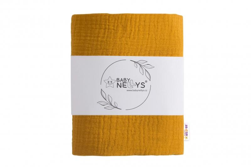 Baby Nellys mušelínová plienka, osuška 65x85cm, horčicová, 1ks