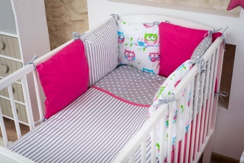 Baby Nellys Vankúšikový mantinel s obliečkami, 135x100 - Sovičky, růžová, nr.8