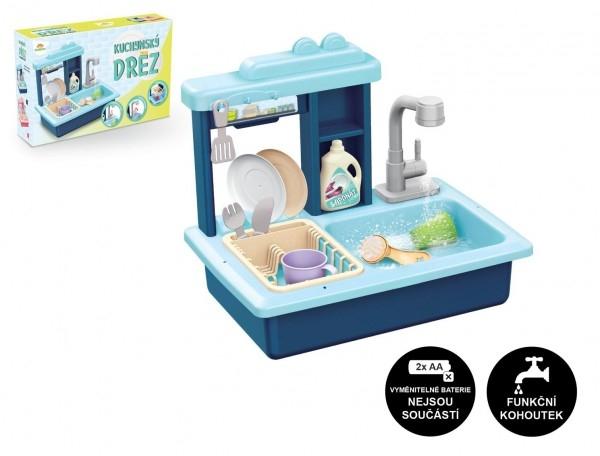 Drez na umývanie riadu modrý + kohútik na vodu na batérie plast s doplnkami v krabici 46x