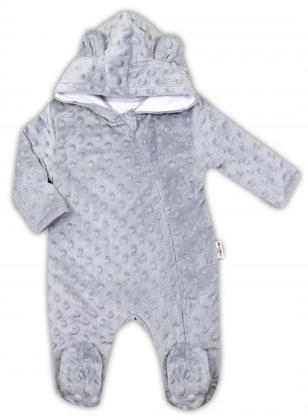 Baby Nellys Kombinézka /overal Minky s kapucňou a uškami - sivá, veľ. 74