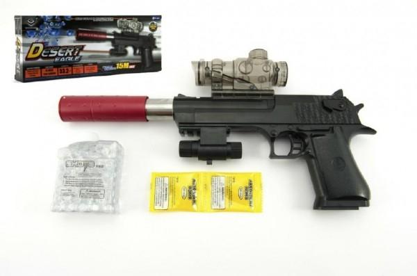 Pištoľ plast / kov 33cm na vodné guličky + náboje  9-11mm na batérie so svetlom v krab