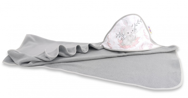 Detská termoosuška s kapucňou Baby Nellys, 100 x 100 cm, LULU natural, sivá/ružová