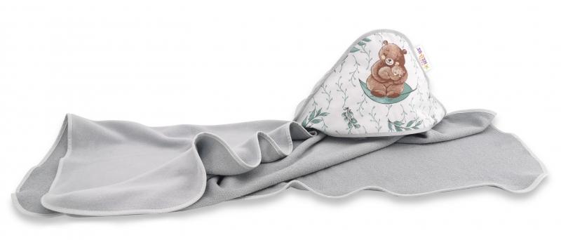 Detská termoosuška s kapucňou Baby Nellys, 100 x 100 cm, LULU natural, sivá/mátová