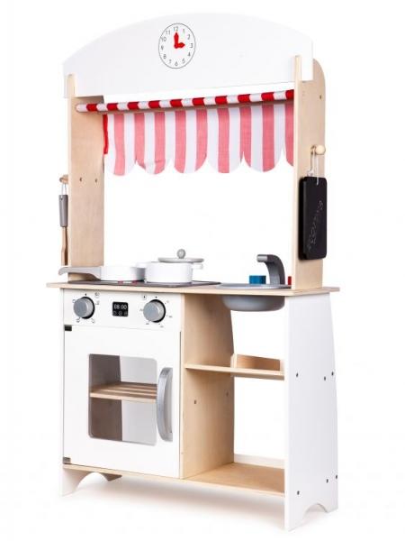 Eco Toys Drevená kuchynka s príslušenstvom, 101 x 60 x 27 cm - biela