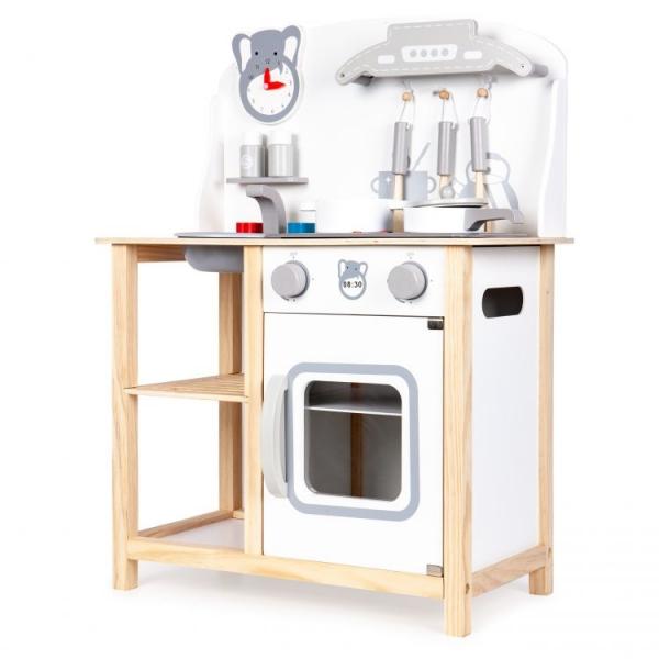 Eco Toys Drevená kuchynka s príslušenstvom, 75 x 59,5 x 29,5 cm - biela / borovica