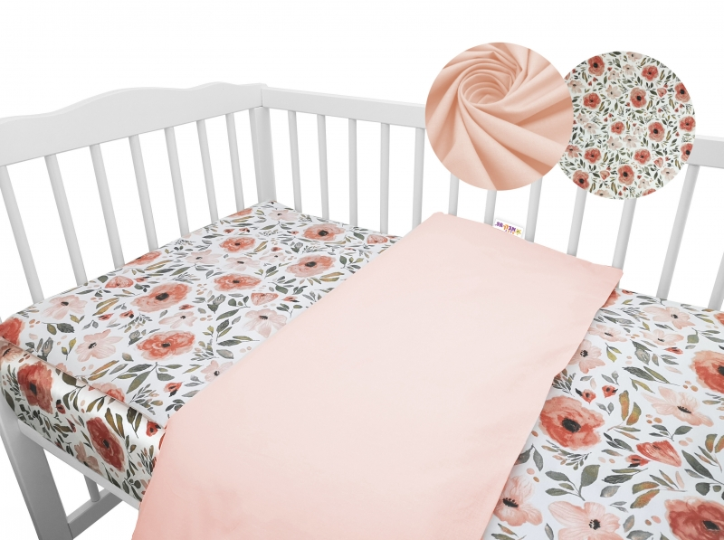 2-dielne bavlnené obliečky Baby Nellys - Begónie, marhuľová, 135x100 cm