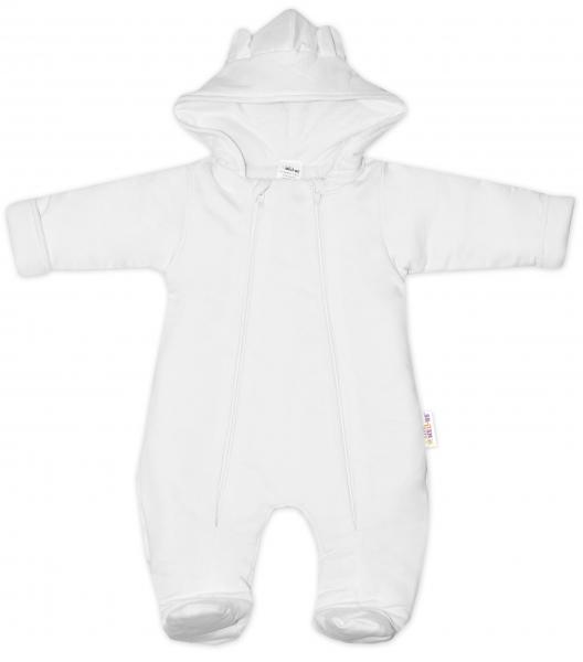 Baby Nellys ® Kombinézka s dvojitým zapínaním, s kapucňou a uškami, biala