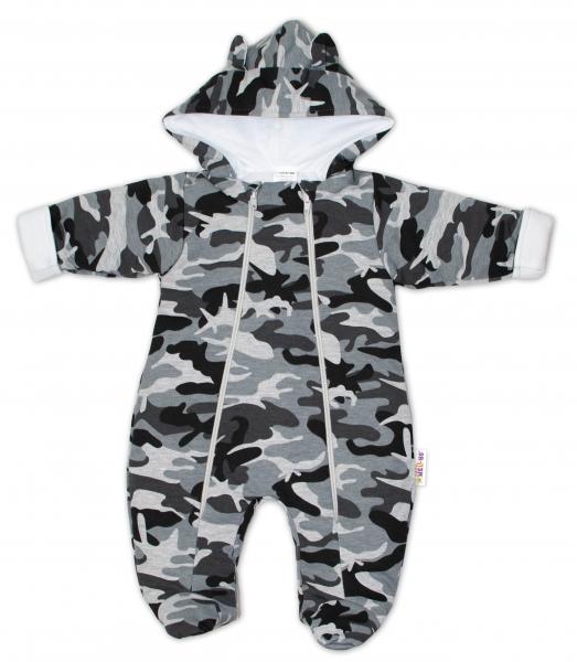 Kombinézka s kapucňu a uškami s dvojitým zapínaním Army Baby Nellys ® maskáč sivý, vel. 74-#Velikost koj. oblečení;74 (6-9m)